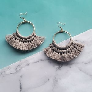 Gray Tassle Hoop Earrings